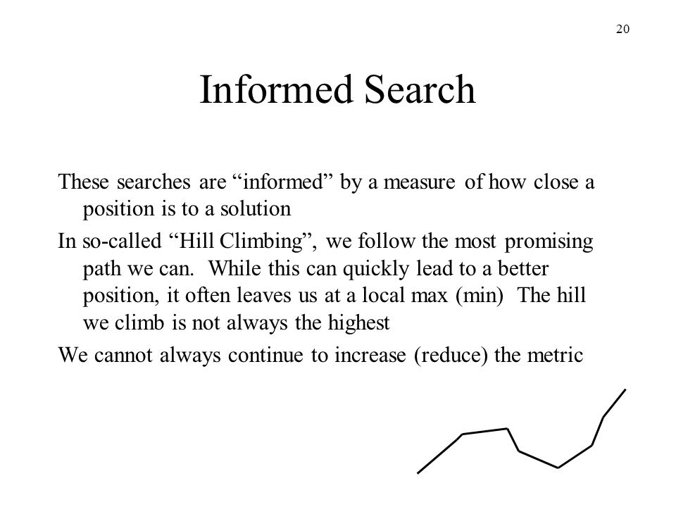 20 Informed Search These searches are informed by a measure of how close a position is to a solution In so-called Hill Climbing , we follow the most promising path we can.