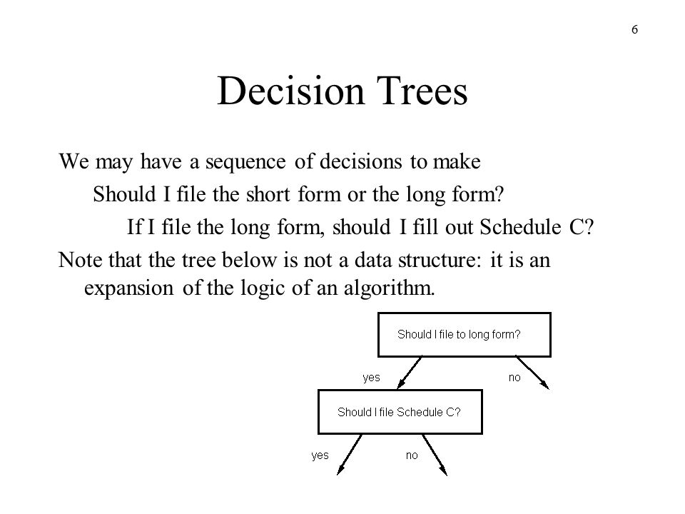 6 Decision Trees We may have a sequence of decisions to make Should I file the short form or the long form.