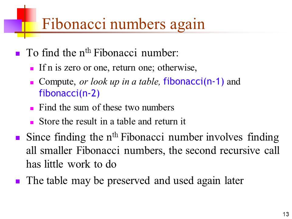 13 Fibonacci numbers again To find the n th Fibonacci number: If n is zero or one, return one; otherwise, Compute, or look up in a table, fibonacci(n-