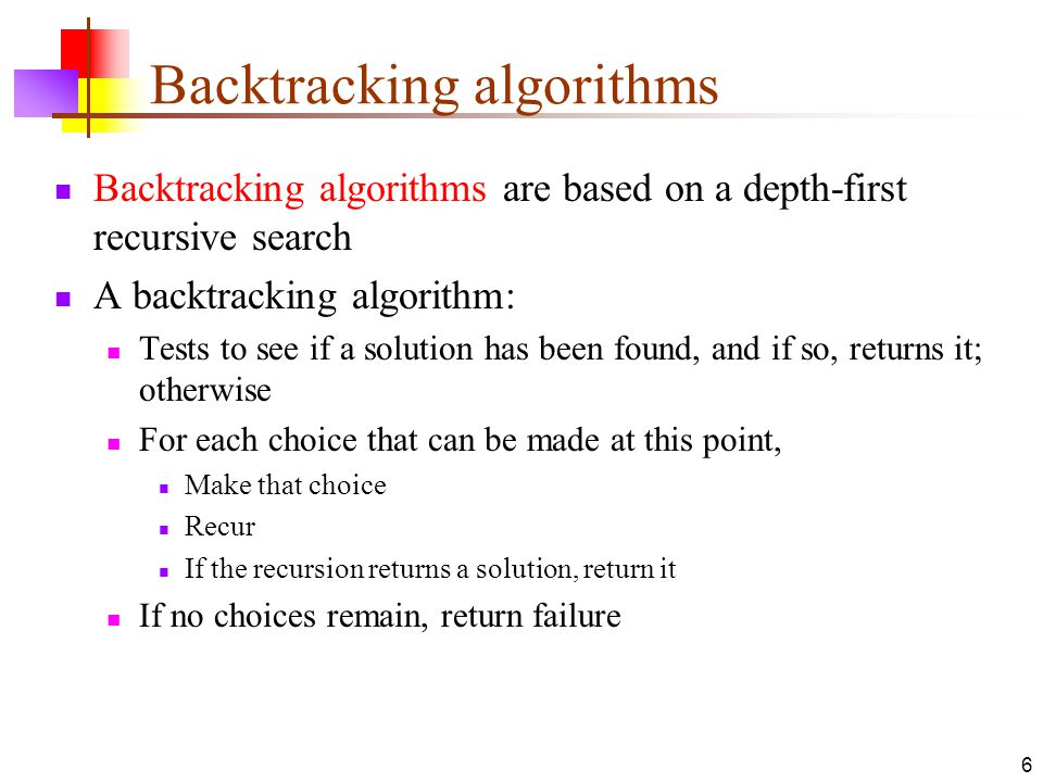17 Branch and bound algorithms Branch and bound algorithms are generally used for optimization problems As the algorithm progresses, a tree of subproblems is formed The original problem is considered the root problem A method is used to construct an upper and lower bound for a given problem At each node, apply the bounding methods If the bounds match, it is deemed a feasible solution to that particular subproblem If bounds do not match, partition the problem represented by that node, and make the two subproblems into children nodes Continue, using the best known feasible solution to trim sections of the tree, until all nodes have been solved or trimmed