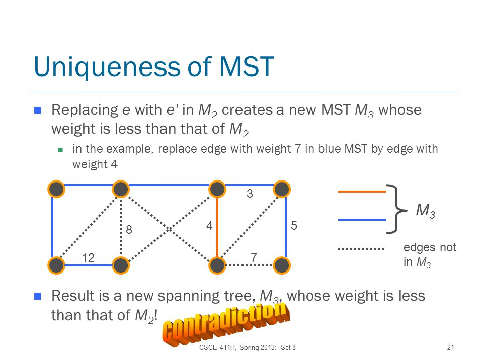 CSCE 411H, Spring 2013: Set 821 Uniqueness of MST Replacing e with e in M 2 creates a new MST M 3 whose weight is less than that of M 2 in the example, replace edge with weight 7 in blue MST by edge with weight 4 Result is a new spanning tree, M 3, whose weight is less than that of M 2 .