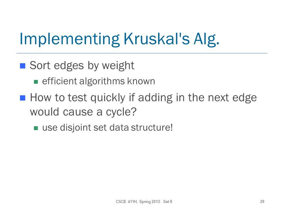 CSCE 411H, Spring 2013: Set 829 Implementing Kruskal s Alg.