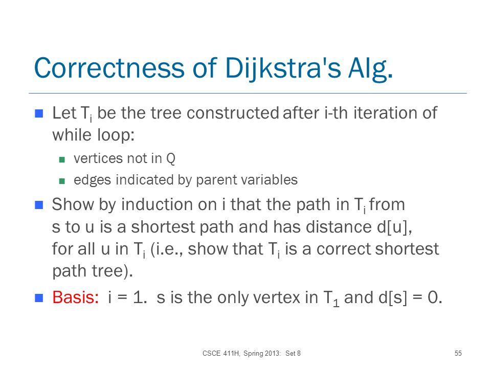 CSCE 411H, Spring 2013: Set 855 Correctness of Dijkstra s Alg.