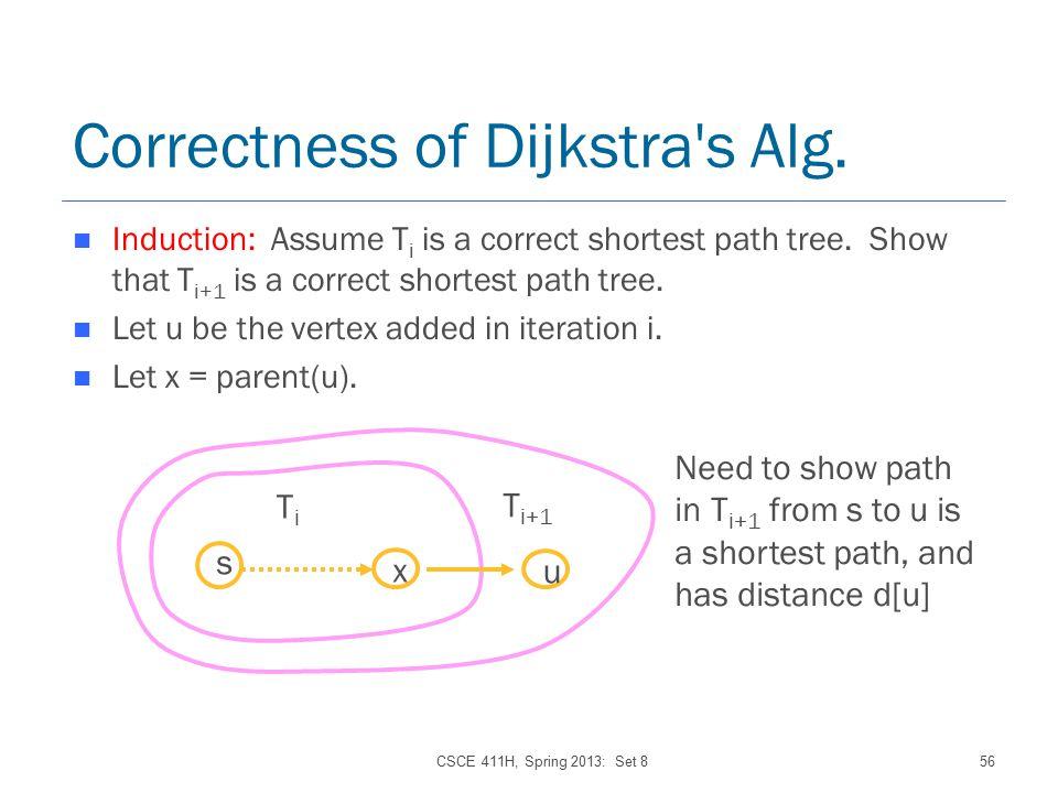 CSCE 411H, Spring 2013: Set 856 Correctness of Dijkstra s Alg.
