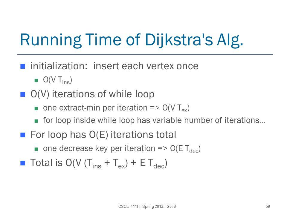 CSCE 411H, Spring 2013: Set 859 Running Time of Dijkstra s Alg.