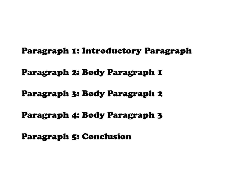 Body Paragraphs  All three body paragraphs should follow the same formula.