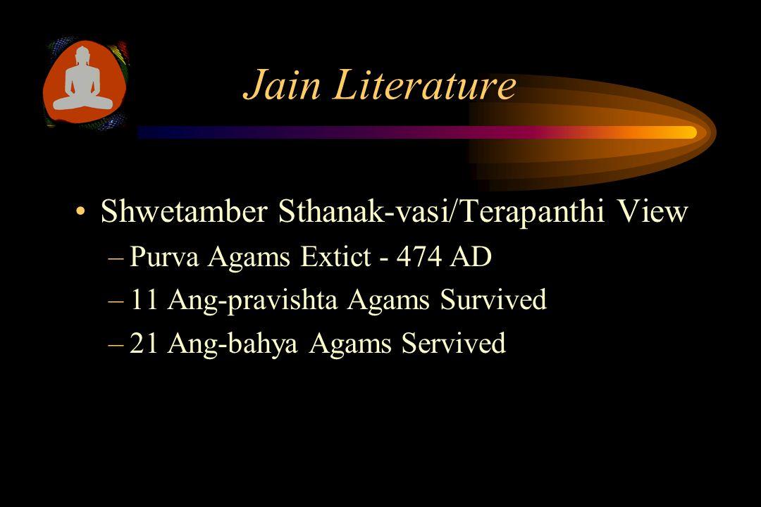 Jain Literature Shwetamber Murti-pujak View –Purva Agams Extict - 474 AD –11 Ang-pravishta Agams Survived –34 Ang-bahya Agams Servived