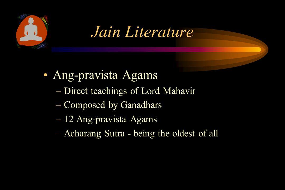Jain Literature Shwetamber Sthanak-vasi/Terapanthi View –Purva Agams Extict - 474 AD –11 Ang-pravishta Agams Survived –21 Ang-bahya Agams Servived