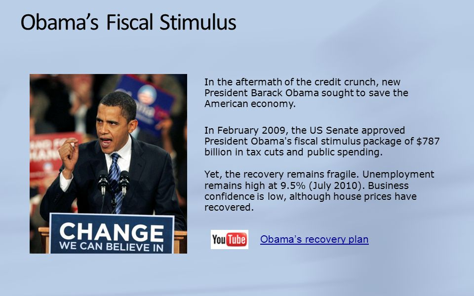 Obama's Fiscal Stimulus In the aftermath of the credit crunch, new President Barack Obama sought to save the American economy.
