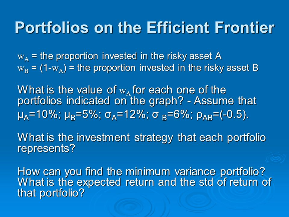 Portfolios on the Efficient Frontier w A = the proportion invested in the risky asset A w B = (1- w A ) = the proportion invested in the risky asset B What is the value of w A for each one of the portfolios indicated on the graph.