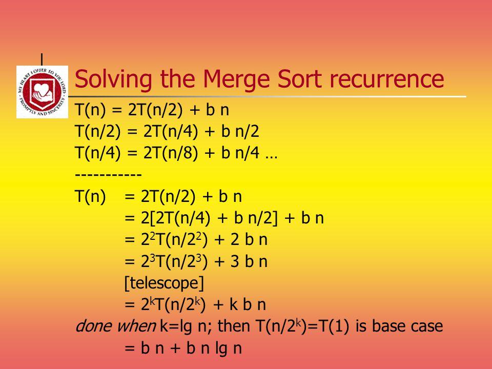 Solving the Merge Sort recurrence T(n) = 2T(n/2) + b n T(n/2) = 2T(n/4) + b n/2 T(n/4) = 2T(n/8) + b n/4 … ----------- T(n) = 2T(n/2) + b n = 2[2T(n/4