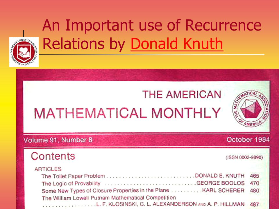 An Important use of Recurrence Relations by Donald KnuthDonald Knuth