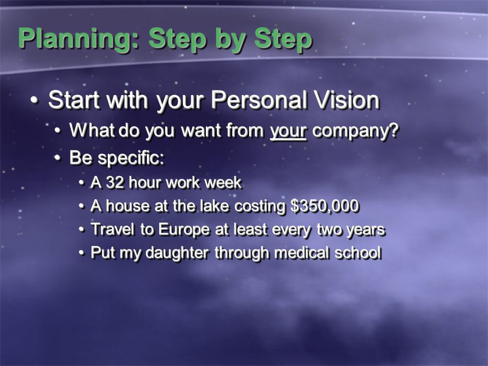 Planning: Step by Step Start with your Personal VisionStart with your Personal Vision What do you want from your company?What do you want from your co