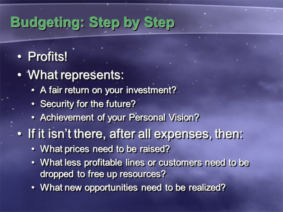 Budgeting: Step by Step Profits!Profits.