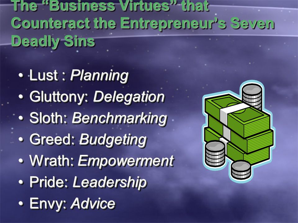 The Business Virtues that Counteract the Entrepreneur's Seven Deadly Sins Lust : PlanningLust : Planning Gluttony: DelegationGluttony: Delegation Sloth: BenchmarkingSloth: Benchmarking Greed: BudgetingGreed: Budgeting Wrath: EmpowermentWrath: Empowerment Pride: LeadershipPride: Leadership Envy: AdviceEnvy: Advice Lust : PlanningLust : Planning Gluttony: DelegationGluttony: Delegation Sloth: BenchmarkingSloth: Benchmarking Greed: BudgetingGreed: Budgeting Wrath: EmpowermentWrath: Empowerment Pride: LeadershipPride: Leadership Envy: AdviceEnvy: Advice