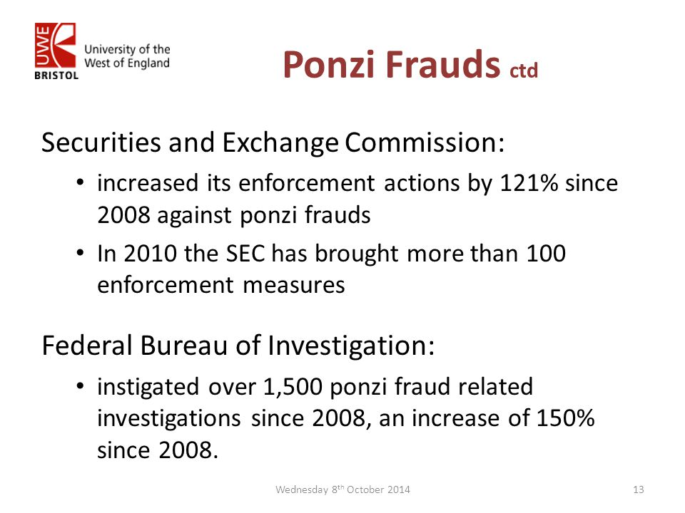 Ponzi Frauds ctd Securities and Exchange Commission: increased its enforcement actions by 121% since 2008 against ponzi frauds In 2010 the SEC has brought more than 100 enforcement measures Federal Bureau of Investigation: instigated over 1,500 ponzi fraud related investigations since 2008, an increase of 150% since 2008.