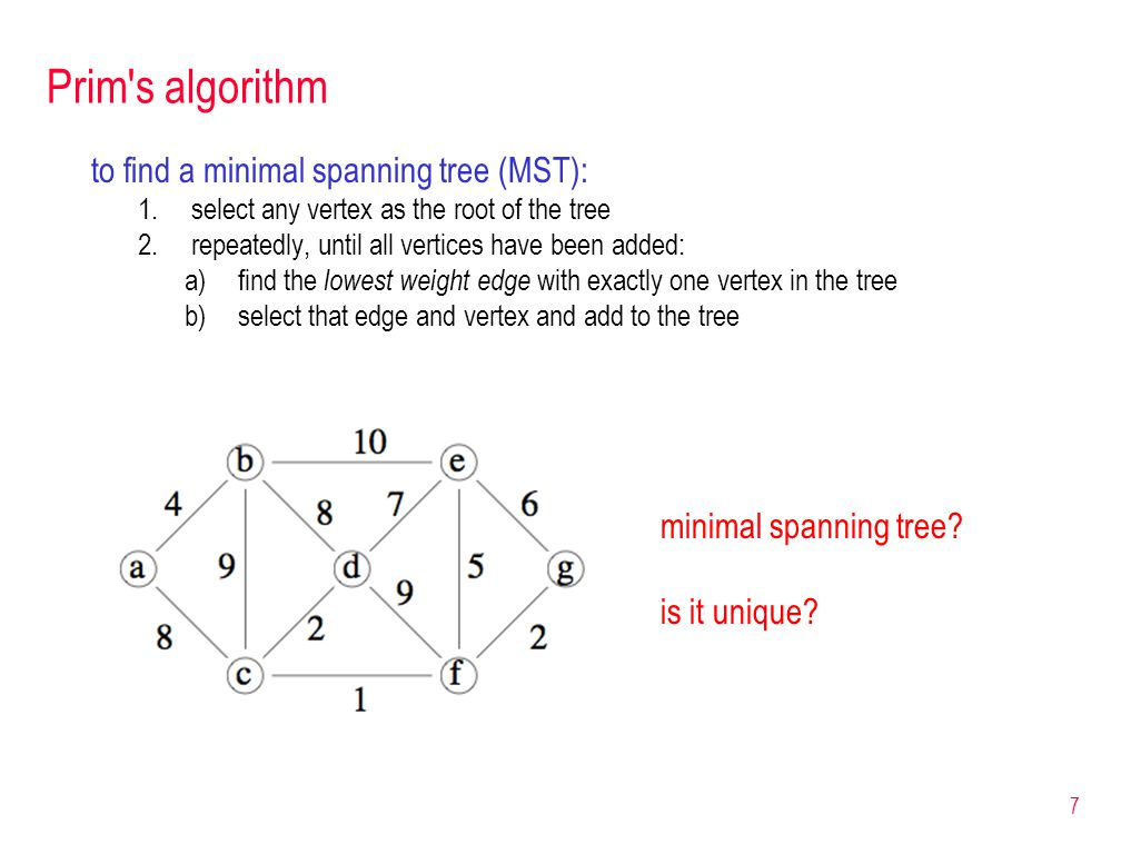 Correctness of Prim s algorithm Proof (by induction): Each subtree T 1, T 1, …, T |V| in Prim s algorithm is contained in a MST.