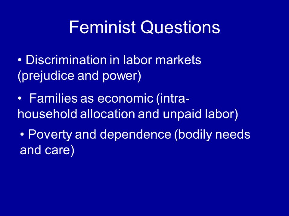 Feminist Questions Families as economic (intra- household allocation and unpaid labor) Poverty and dependence (bodily needs and care) Discrimination in labor markets (prejudice and power)