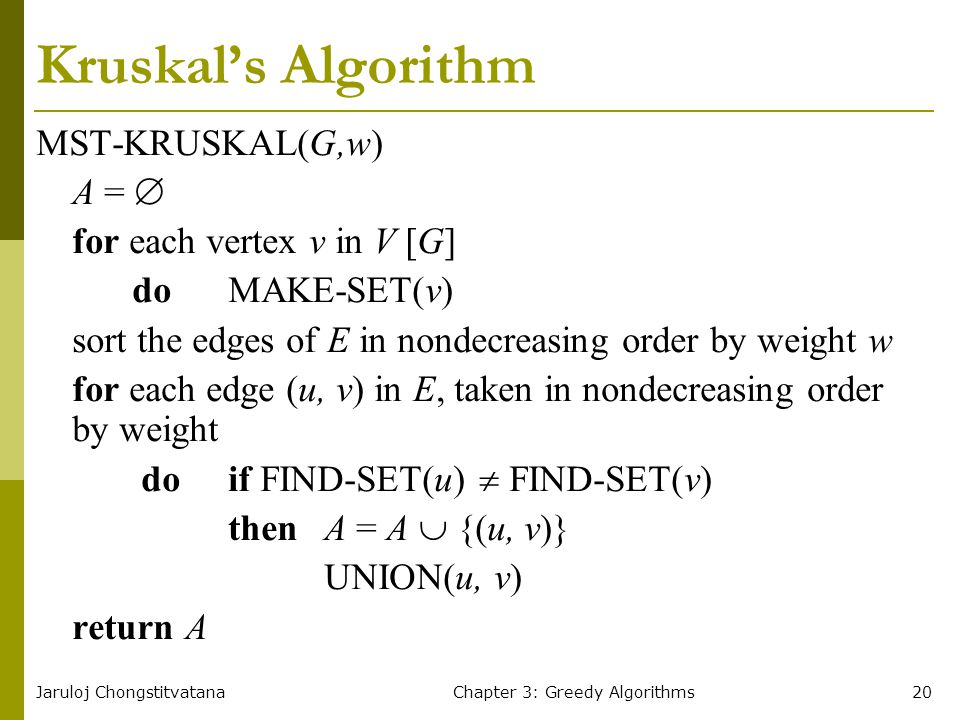 Jaruloj ChongstitvatanaChapter 3: Greedy Algorithms20 Kruskal's Algorithm MST-KRUSKAL(G,w) A =  for each vertex v in V [G] do MAKE-SET(v) sort the ed