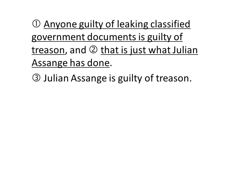  Anyone guilty of leaking classified government documents is guilty of treason, and  that is just what Julian Assange has done.