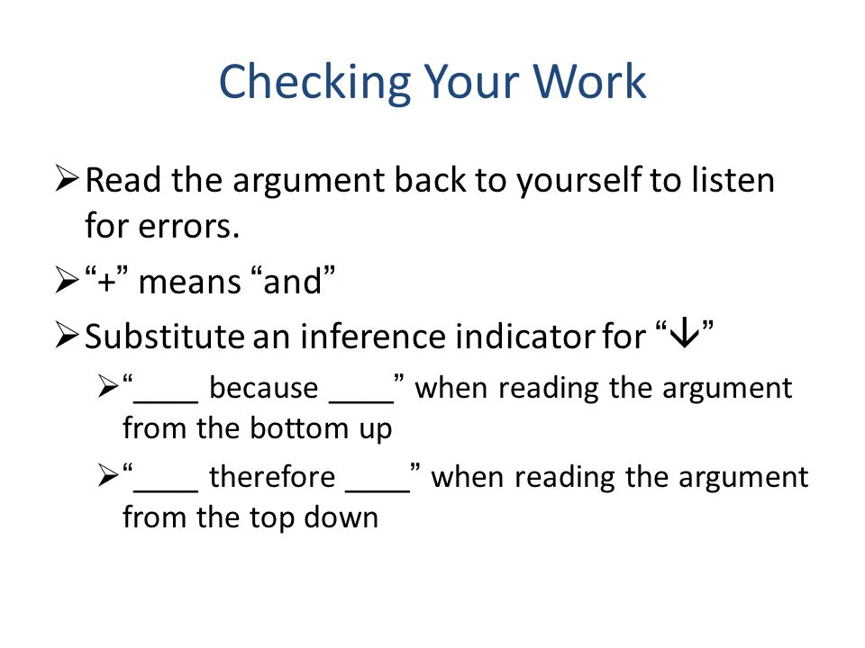 Checking Your Work  Read the argument back to yourself to listen for errors.