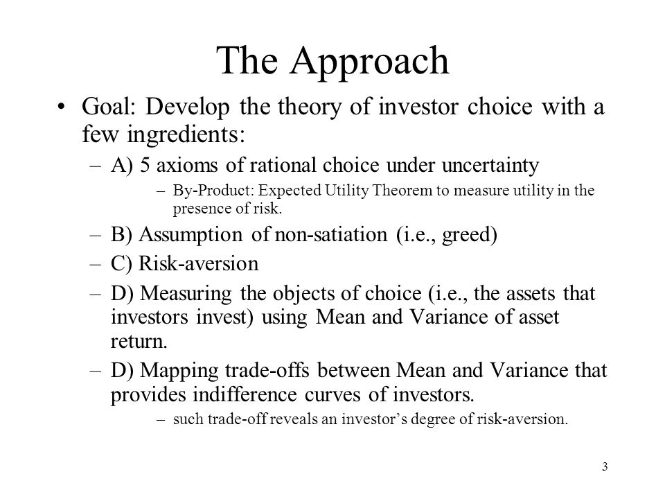 34 E(U) and the end-product Our final step: the bridging of expected utility theory to the indifference curves Returns = expected return = E(R) Risk = standard deviation of return = σ R EU 1 EU 2 Derivation is from chapter 3 part F.