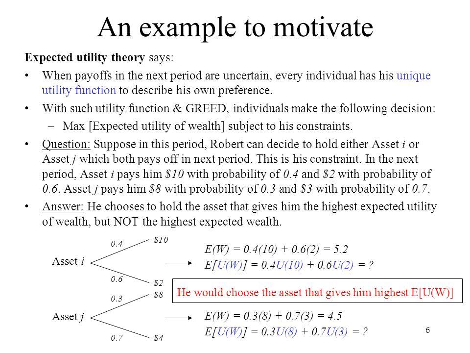 17 Preferences to Risk: Intro Risk-lovingRisk NeutralRisk Averse U(W) WWWababab U(a) U(b) Goals: (a)Formally define what is risk-aversion.