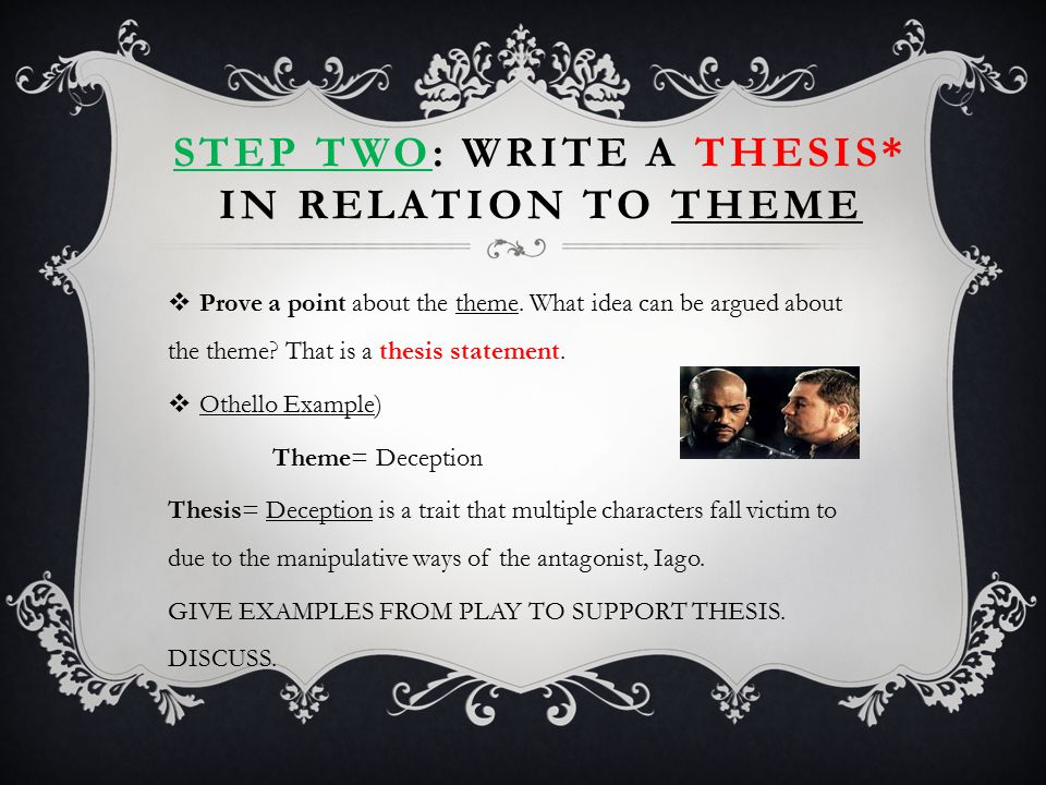 THESIS* EXAMPLES  Theme= Revenge Thesis= Iago finds pleasure in seeking revenge on Othello, disregarding those who may be affected by his malicious plans.