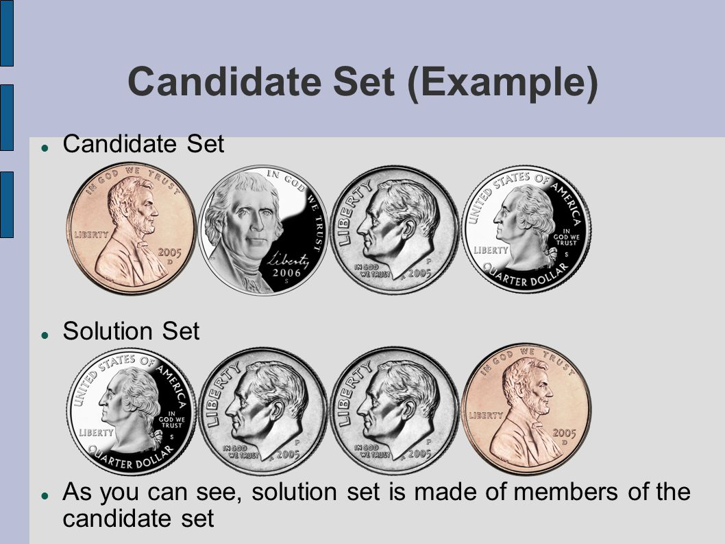 Candidate Set (Example) Candidate Set Solution Set As you can see, solution set is made of members of the candidate set