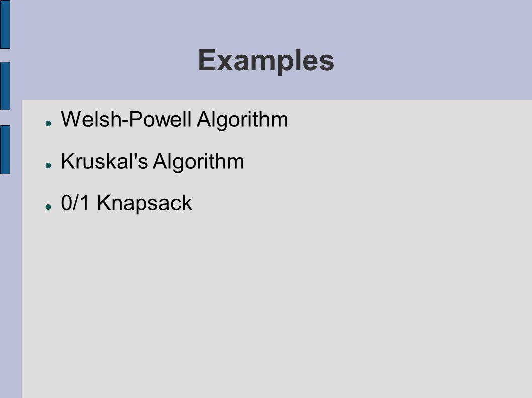 Examples Welsh-Powell Algorithm Kruskal s Algorithm 0/1 Knapsack