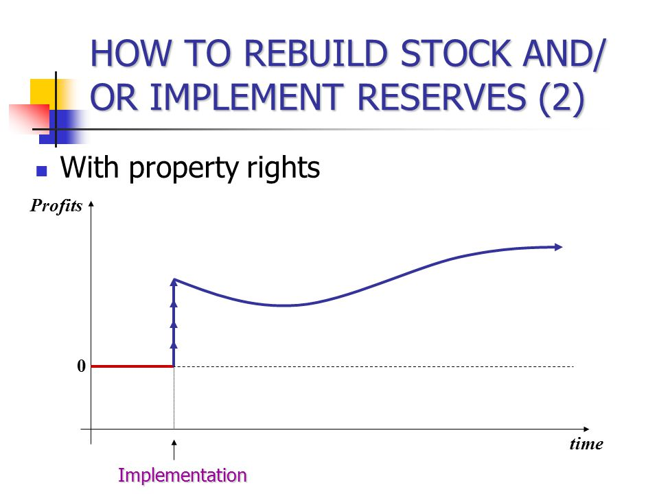 HOW TO REBUILD STOCK AND/ OR IMPLEMENT RESERVES (2) With property rights Profits time 0 Implementation