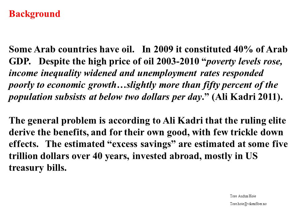 Background Some Arab countries have oil. In 2009 it constituted 40% of Arab GDP.
