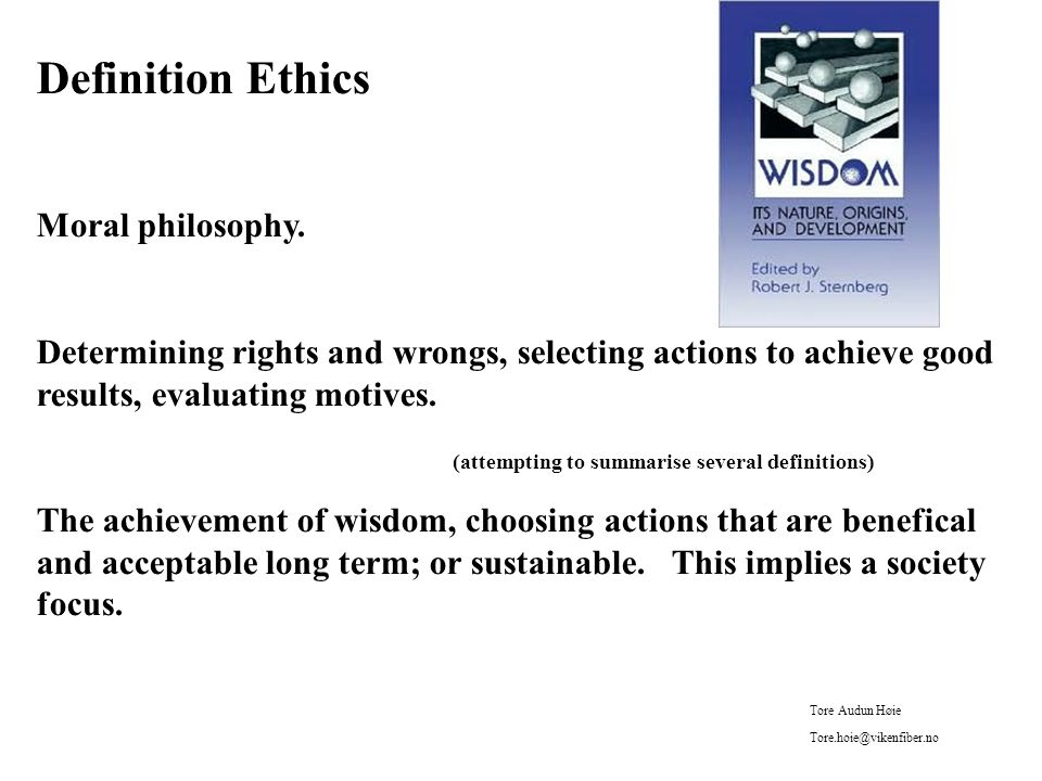 Philosophical problems Beliefs (axioms) not clearly expressed Not defining, or defining poorly (example CRM) Belief that microoptimisation gives macrooptimisation Optimisation instead of satisfiation (Herb Simon) Overall effects seldom evaluated (like competence, motivation) Transactions instead of relationships (and trust) Hierarchic structures, top down Money only, and often short term Quality and service ignored or downplayed, including data quality Tore Audun Høie Tore.hoie@vikenfiber.no