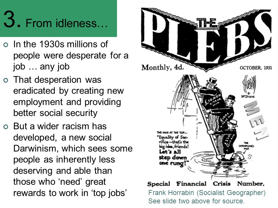 3. From idleness… In the 1930s millions of people were desperate for a job … any job That desperation was eradicated by creating new employment and pr