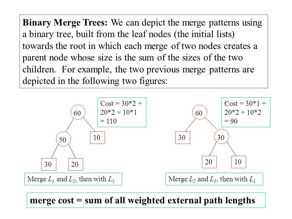 Optimal Binary Merge Tree Algorithm: Input: n leaf nodes each have an integer size, n  2.