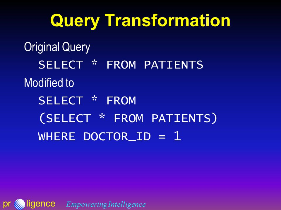prligence Empowering Intelligence Query Transformation Original Query SELECT * FROM PATIENTS Modified to SELECT * FROM (SELECT * FROM PATIENTS) WHERE DOCTOR_ID = 1