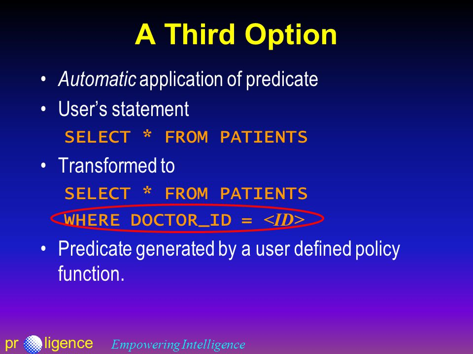 prligence Empowering Intelligence A Third Option Automatic application of predicate User's statement SELECT * FROM PATIENTS Transformed to SELECT * FROM PATIENTS WHERE DOCTOR_ID = Predicate generated by a user defined policy function.