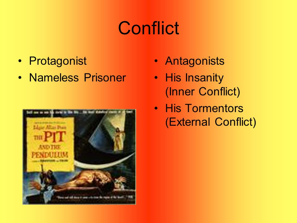 Conflict Protagonist Nameless Prisoner Antagonists His Insanity (Inner Conflict) His Tormentors (External Conflict)