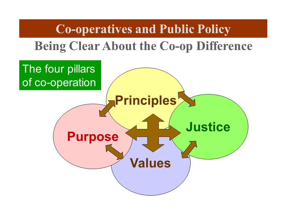Values Purpose Principles Justice Being Clear About the Co-op Difference The four pillars of co-operation Co-operatives and Public Policy