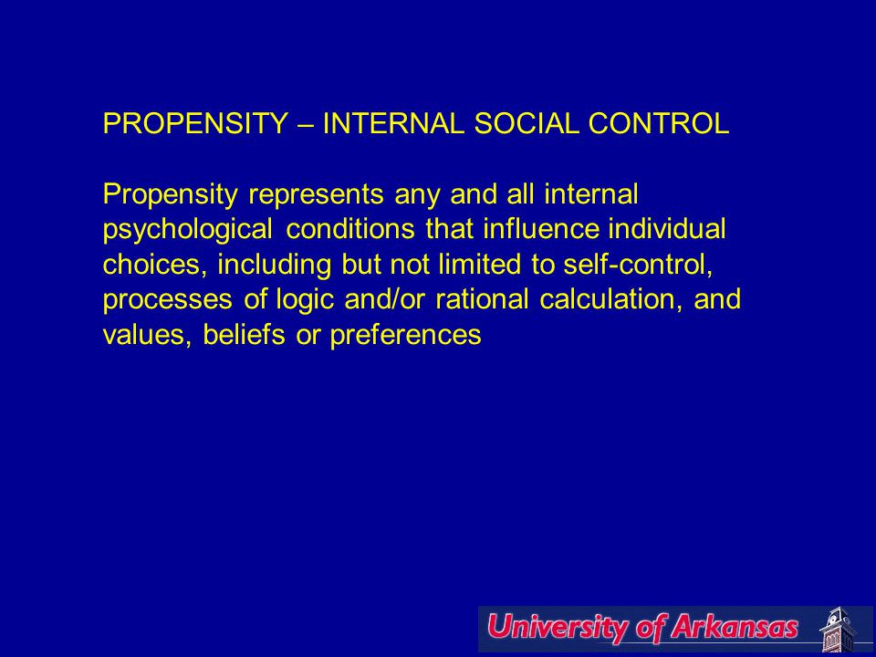 PROPENSITY – INTERNAL SOCIAL CONTROL Propensity represents any and all internal psychological conditions that influence individual choices, including but not limited to self-control, processes of logic and/or rational calculation, and values, beliefs or preferences