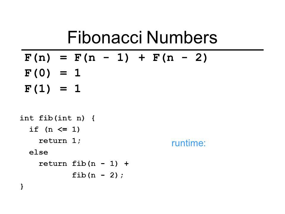 Fibonacci Numbers F(n) = F(n - 1) + F(n - 2) F(0) = 1 F(1) = 1 int fib(int n) { if (n <= 1) return 1; else return fib(n - 1) + fib(n - 2); } runtime: