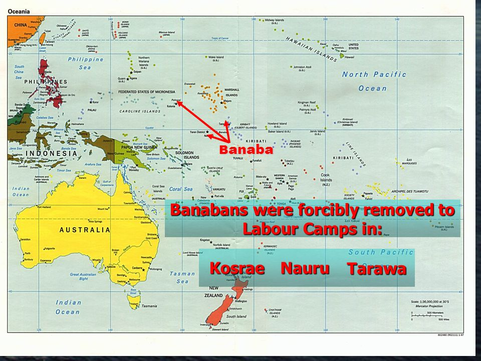 B anaba B anaba Banabans were forcibly removed to Labour Camps in: Kosrae KosraeNauruTarawa