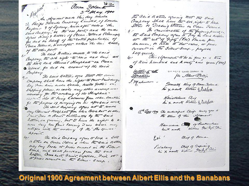 Original 1900 Agreement between Albert Ellis and the Banabans