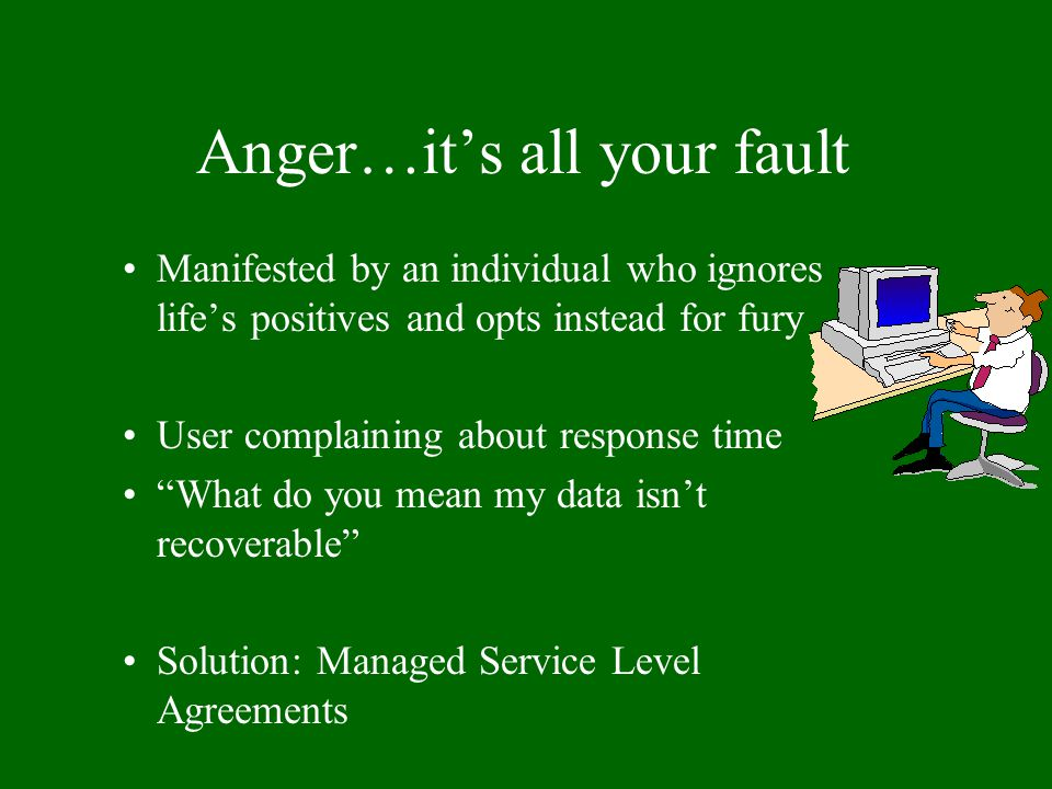 "Anger…it's all your fault Manifested by an individual who ignores life's positives and opts instead for fury User complaining about response time ""Wha"