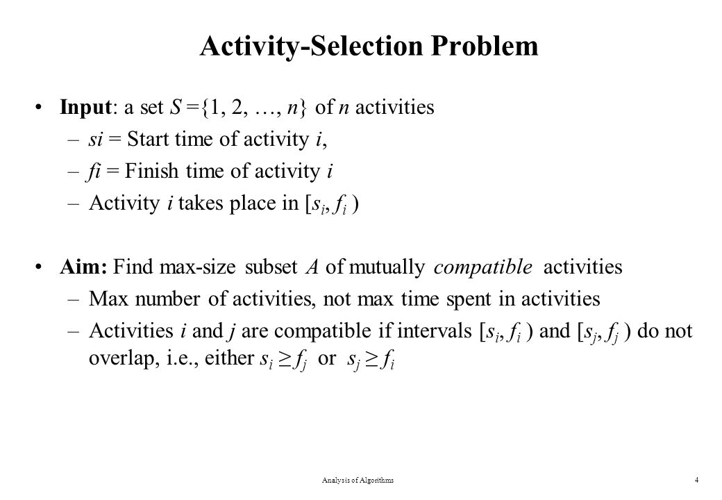 Activity-Selection Problem - Example Analysis of Algorithms5