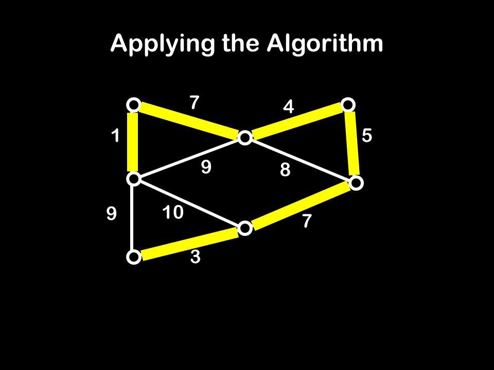 1 8 7 9 10 3 5 4 7 9 Applying the Algorithm