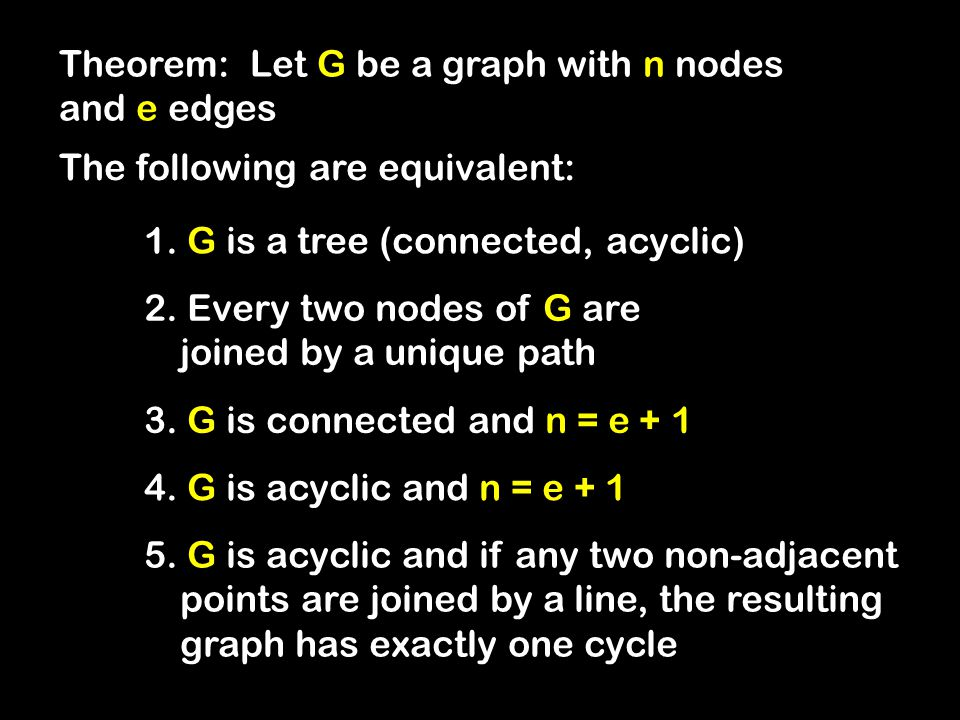 Theorem: Let G be a graph with n nodes and e edges The following are equivalent: 1.
