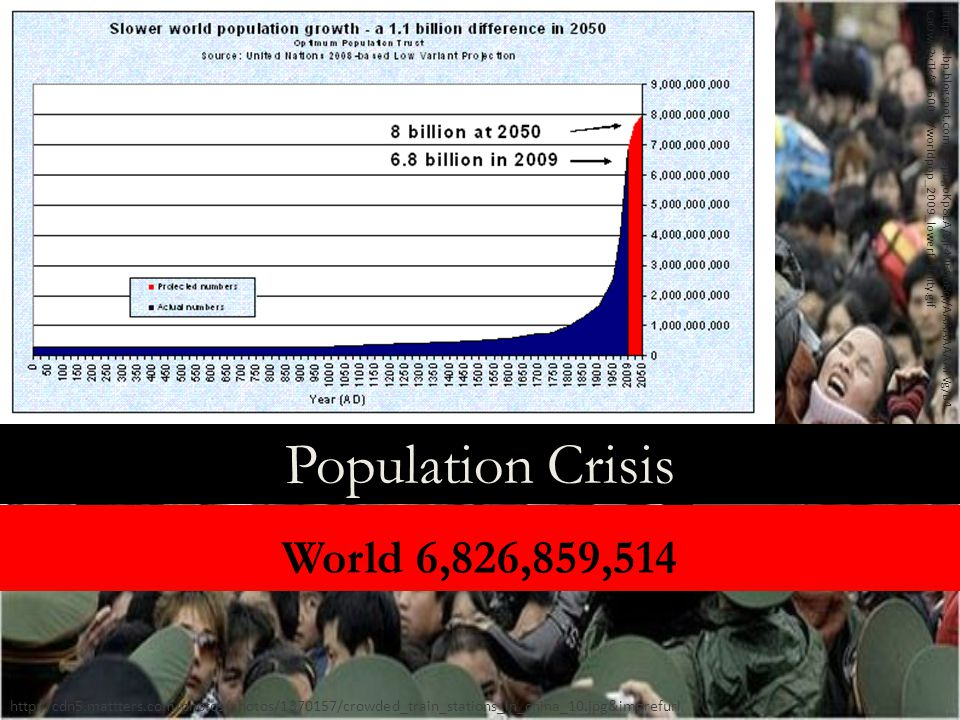Population Crisis http://cdn5.mattters.com/photos/photos/1370157/crowded_train_stations_in_china_10.jpg&imgrefurl World 6,826,859,514 http://2.bp.blogspot.com/_JSpbgoKp8LA/SjF4960b8qI/AAAAAAAAFVg/B4 CaOwK2yTk/S1600-R/worldpop_2009_lowerfertility.gif