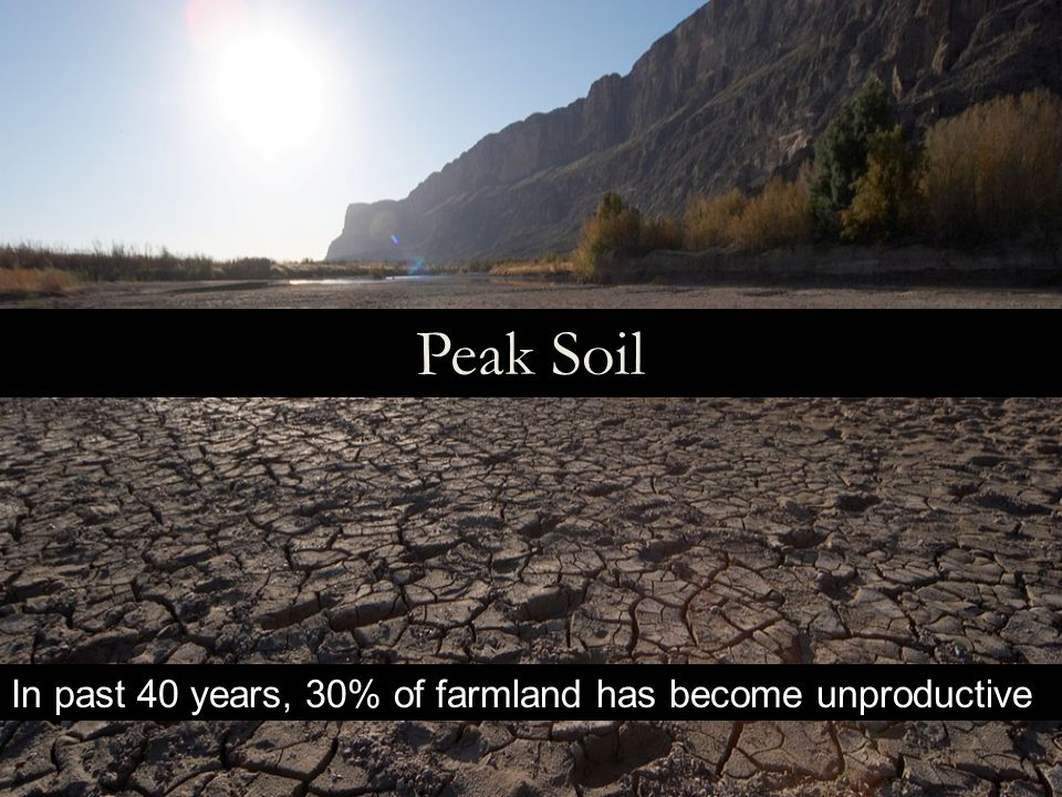 Peak Soil In past 40 years, 30% of farmland has become unproductive