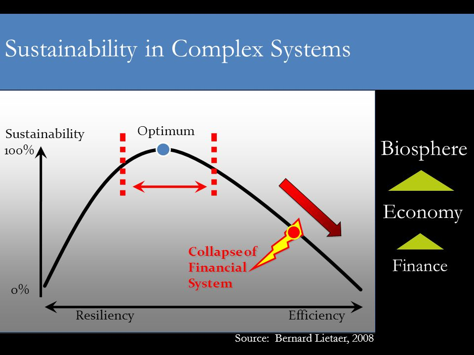 Sustainability Optimum Efficiency 100% 0% Resiliency Collapse of Financial System Source: Bernard Lietaer, 2008 Biosphere Economy Finance Sustainability in Complex Systems